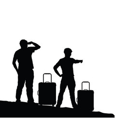 man silhouette with travel bag vector image