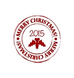 Merry Christmas grunge post stamp vector image