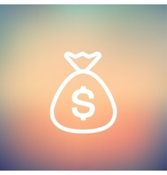 Money bag thin line icon vector image