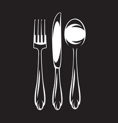 Monochrome set of cutlery - fork spoon vector