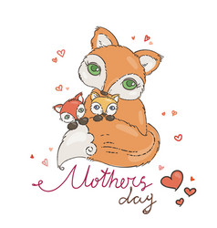 mothers day greeting card with cartoon fox vector image vector image