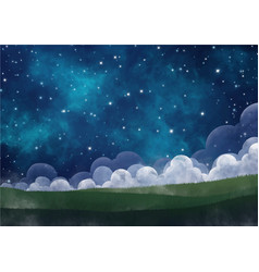 night sky among the starcloud fog and meadow vector image
