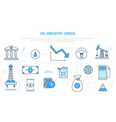 Oil and gas industry crisis concept fall down vector