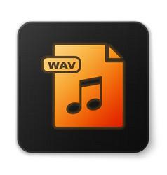 Orange glowing neon wav file document download vector