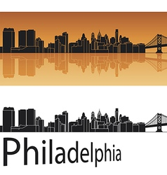 Philadelphia skyline in orange background vector
