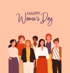 Postcard design for 8 march with community vector