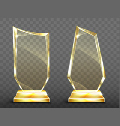 Realistic glass trophy awards on gold base vector