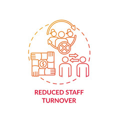 Reduced staff turnover concept icon vector
