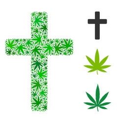 religious cross collage of hemp leaves vector image