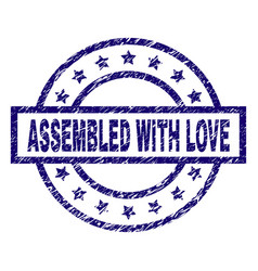 scratched textured assembled with love stamp seal vector image