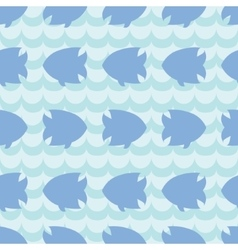 Seamless pattern with fish silhouettes on blue vector image