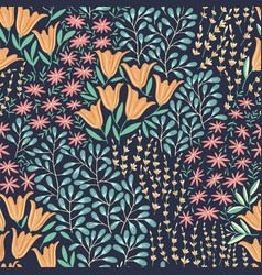 seamless wild flowers pattern vector image