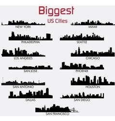 set biggest american cities skylines vector image