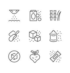 set line icons sugar vector image