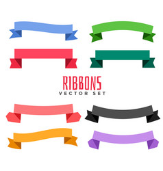 Set of different color flat ribbons vector