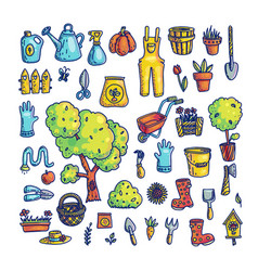 Set of gardening items and tools vector