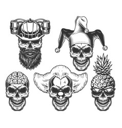 Set of skull in fun headwear vector