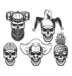 set of skull in fun headwear vector image