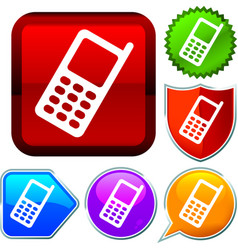 Set shiny icon series on buttons cellphone vector