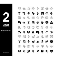simple line icons virtual reality vector image