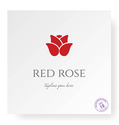 simple minimalist red rose logo design vector image