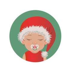 slipping with pacifier baby santa claus emoticon vector image