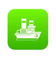 small ship icon digital green vector image