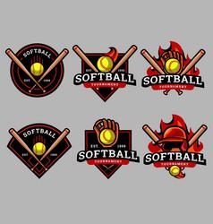 Softball logo and badge set image vector