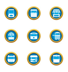 street table icons set flat style vector image