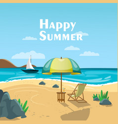 Summer sea beach view vector