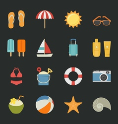 Summer Vacation icons with black background vector image