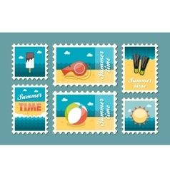 Summertime stamp set flat vector image