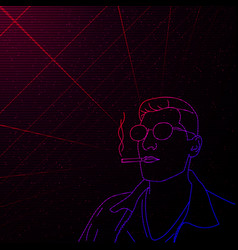 synthwave vaporwave retrowave full face contour vector image