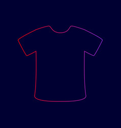 T-shirt sign line icon with gradient from vector