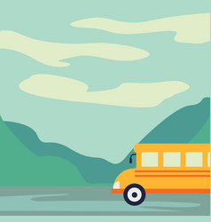 tourist bus driving on the road vector image