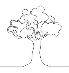 tree logo continuous one line nature tree vector image
