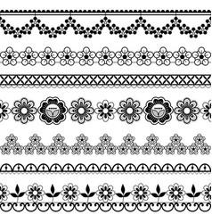 Vintage wedding lace seamless pattern set vector