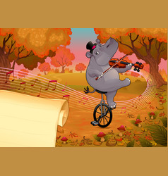 Violinst hippo and paper to give the best wishes vector