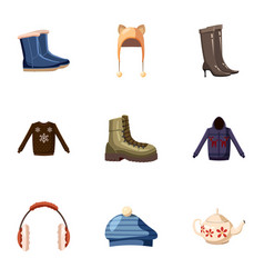 Warm clothes icons set cartoon style vector