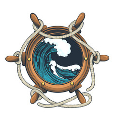 wessel steering wheel with ocean wave inside vector image