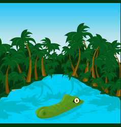 wild crocodile in river in the jungle vector image