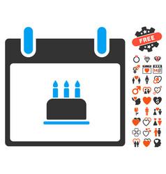 birthday cake calendar day icon with love bonus vector image
