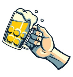 Hand hold a glass of beer vector