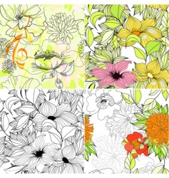set of floral seamless background vector image vector image