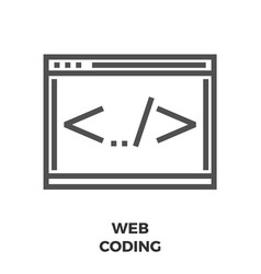 web coding line icon vector image vector image
