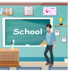 young teacher man at class lesson vector image vector image