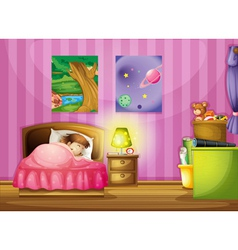 a girl and a bedroom vector image vector image