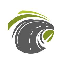 road turn emblem vector image vector image