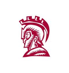 Spartan Warrior Helmet Woodcut vector image