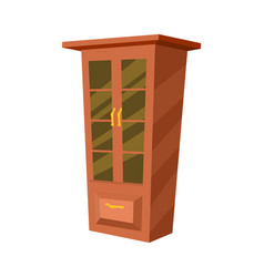 wooden wardrobe isolated icon vector image vector image